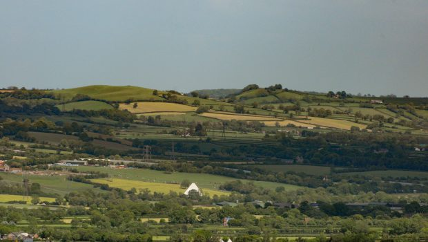 view of Glastonbury Festival from the tor