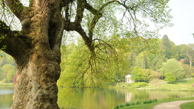 Stourhead lake and garden, a National Trust property in Wiltshire