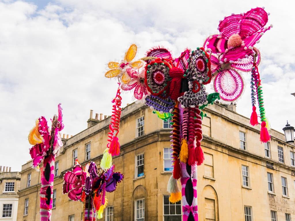 Yarn bombing Bath, Somerset