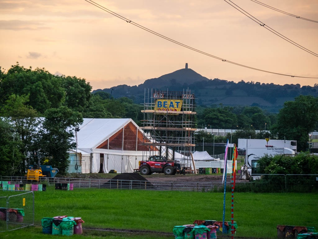 Glastonbury Festival site being built