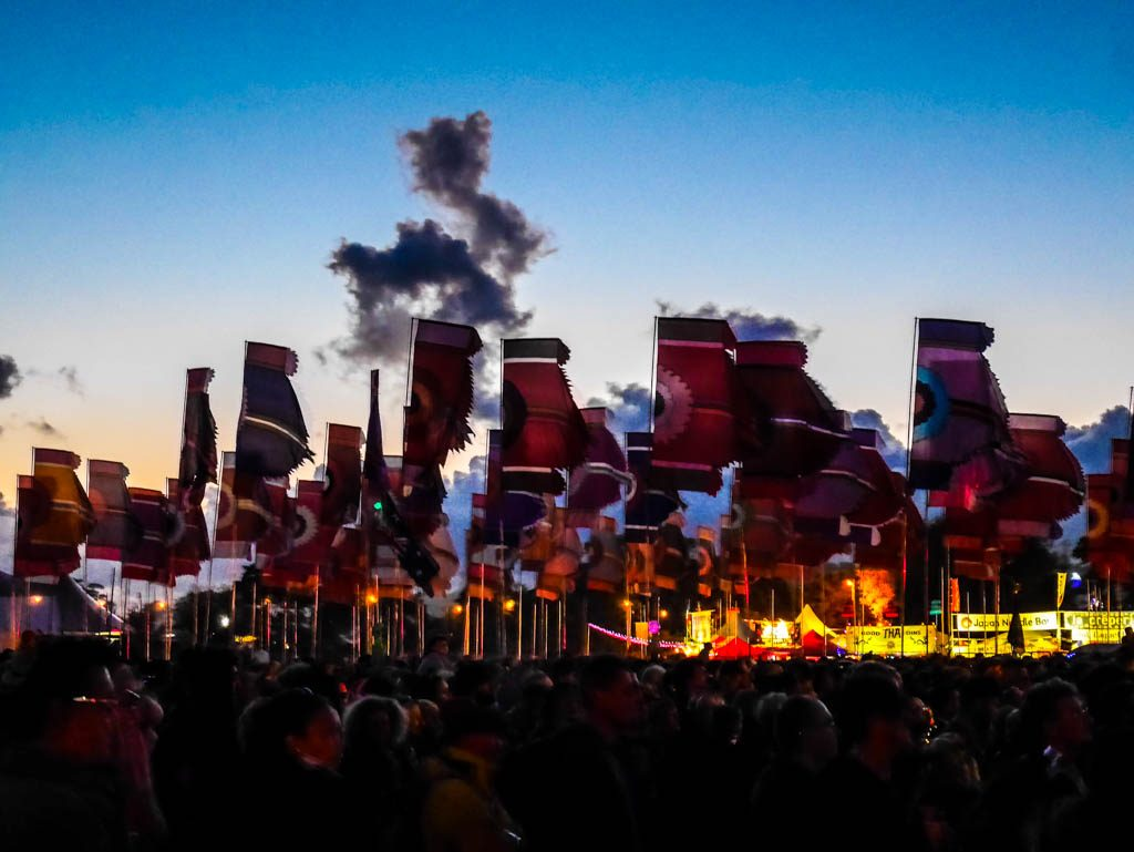 Flags by West Holts Stage, Glastonbury