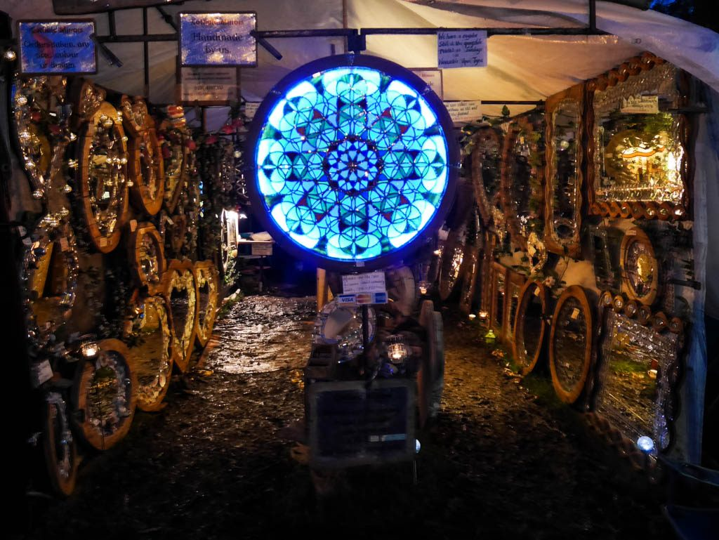 Pretty mirror stall at night at Glastonbury