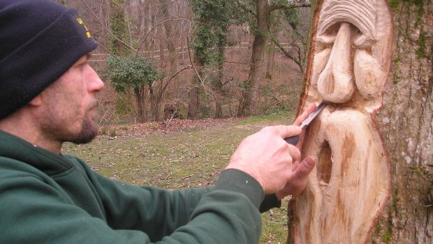 Green man wood carving