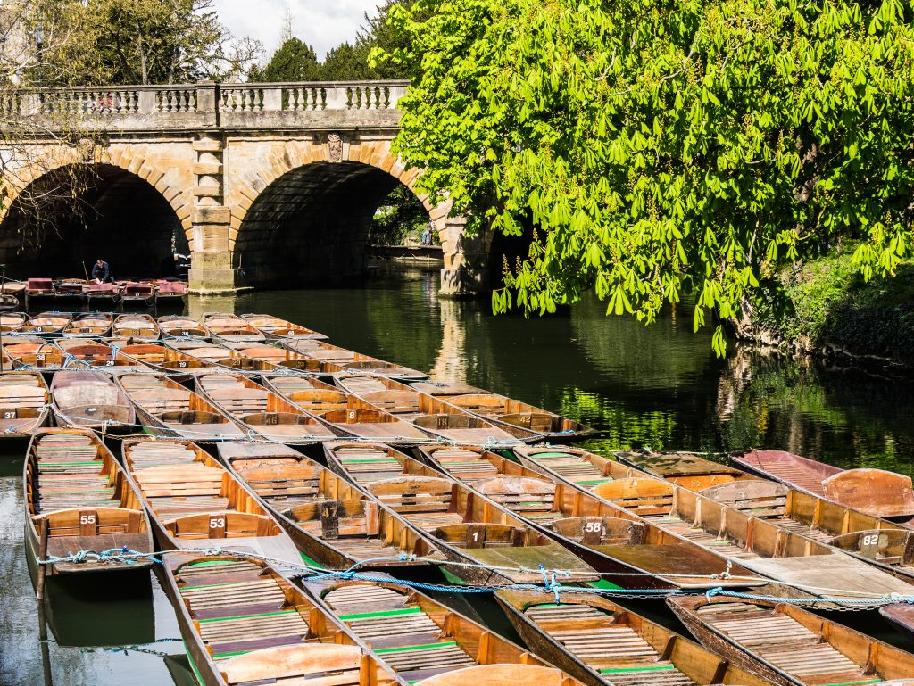 Punting boats on the River Cherwell in Oxford