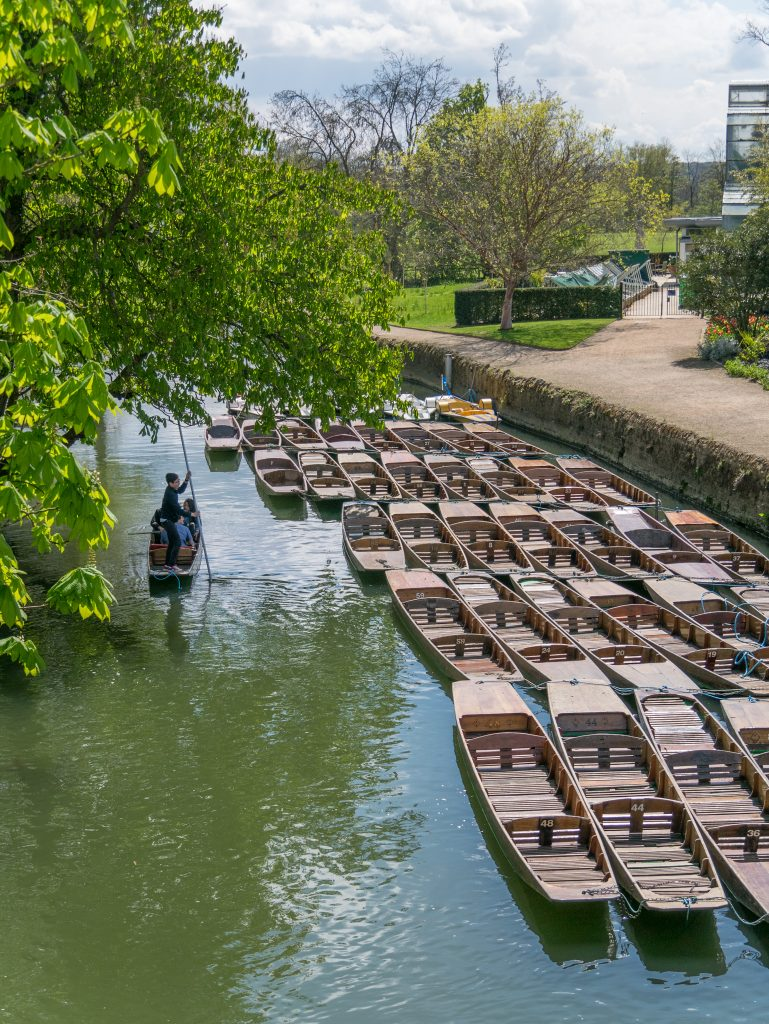 Punting boats on the River Cherwell, Oxford