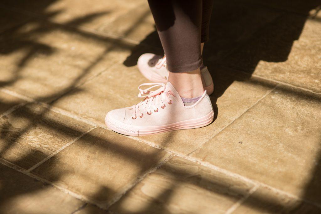 pink suede Converse plimsols