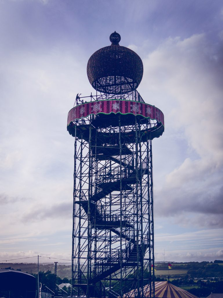 The ribbon tower at Glastonbury festival