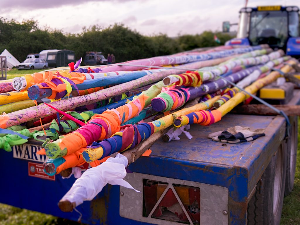 setting up Glastonbury Festival