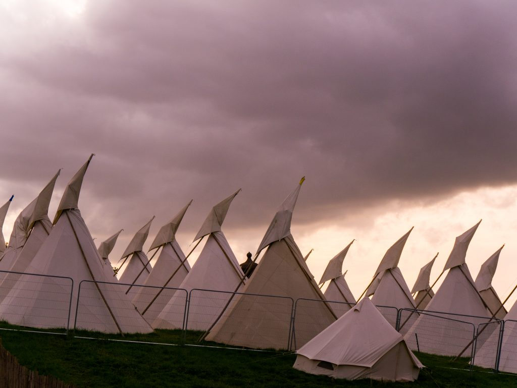 The tipi field at Glastonbury