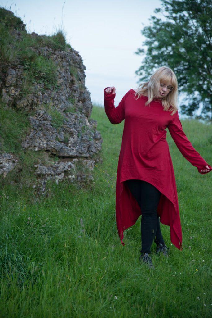 Long sleeved red dress