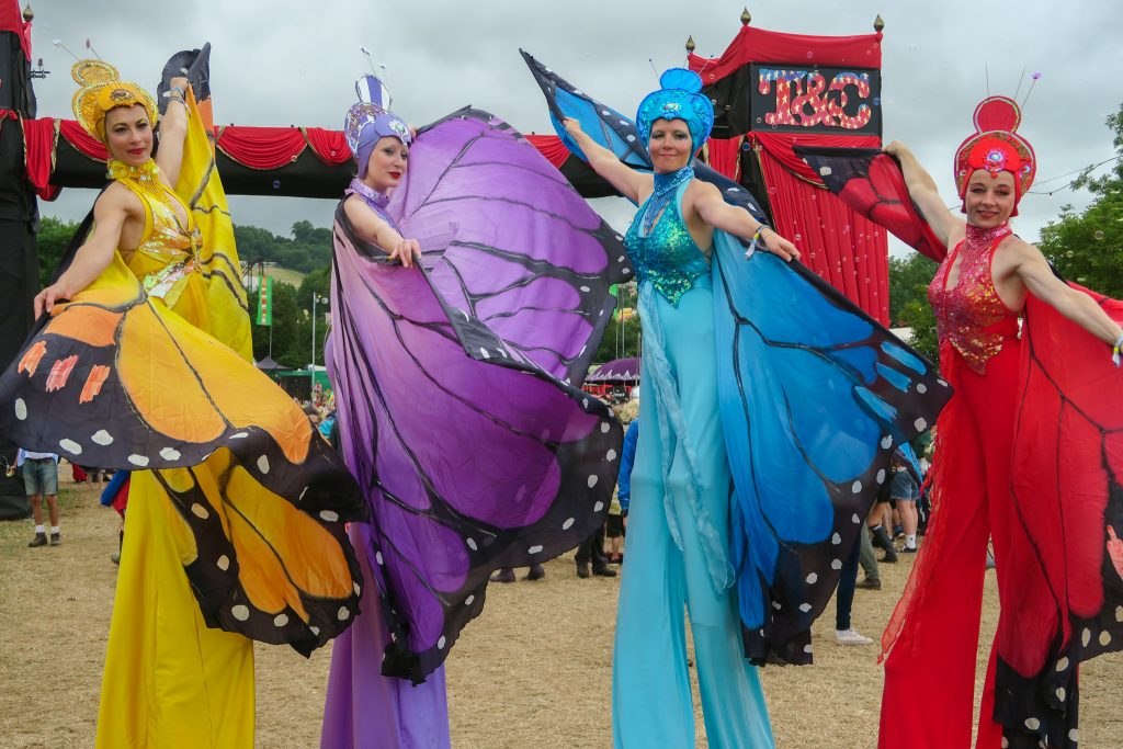 Stilt walkers at Glastonbury Festival