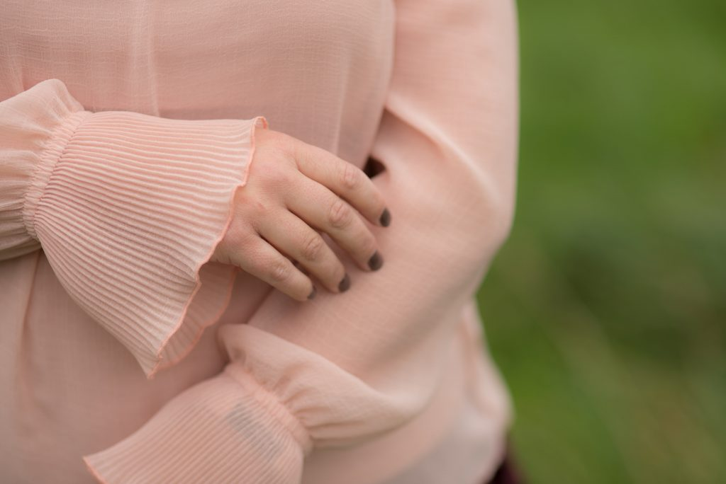 Blush pink ruffle top