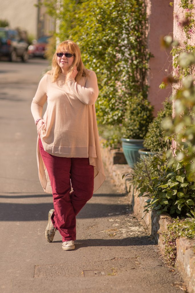 how to style red velvet trousers