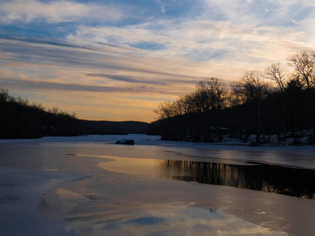 Frozen lakes in upstate new york