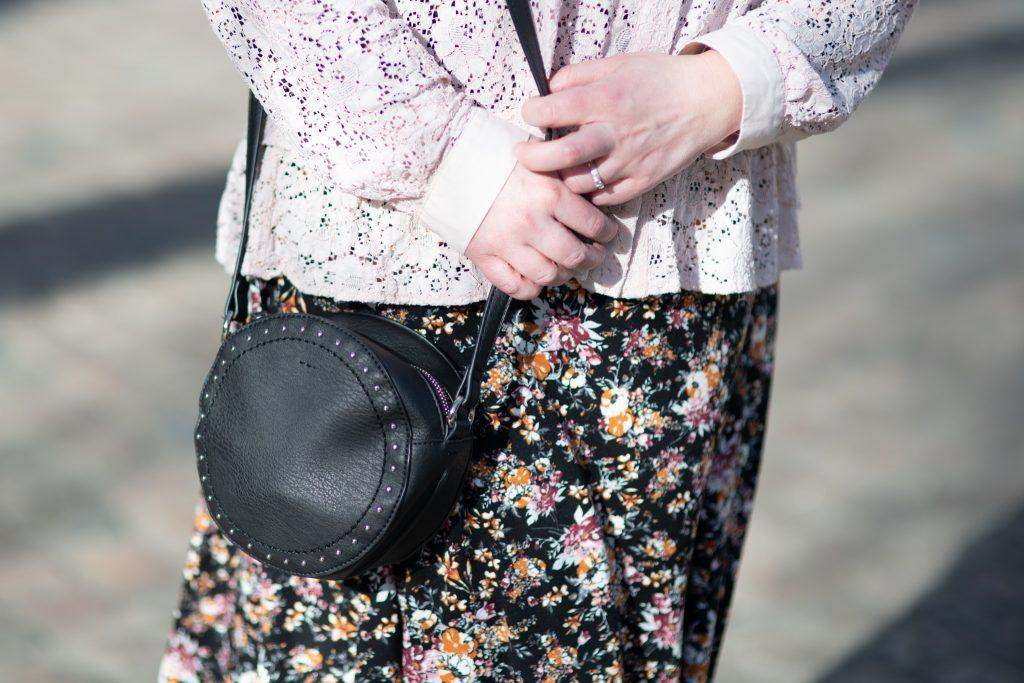 Black faux leather circle bag