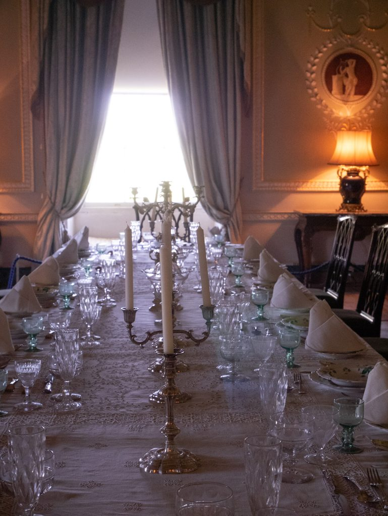 Ornate dining room, Downton Abbey location at Basildon Park house