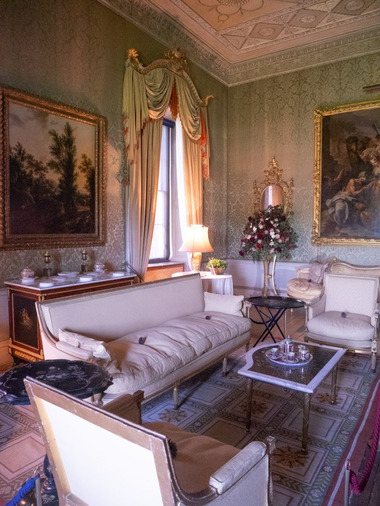 Ornate shabby chic living room - Basildon Park review