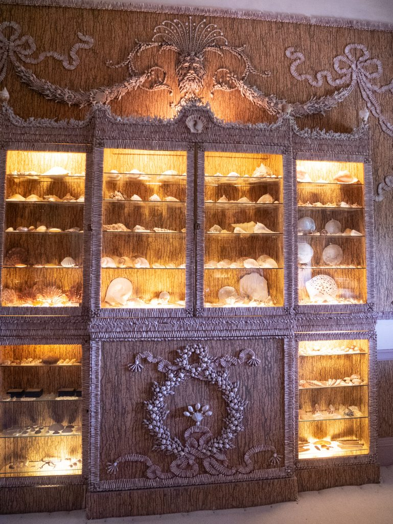 Cabinet covered in shells at Basildon house national trust property near m4 Reading