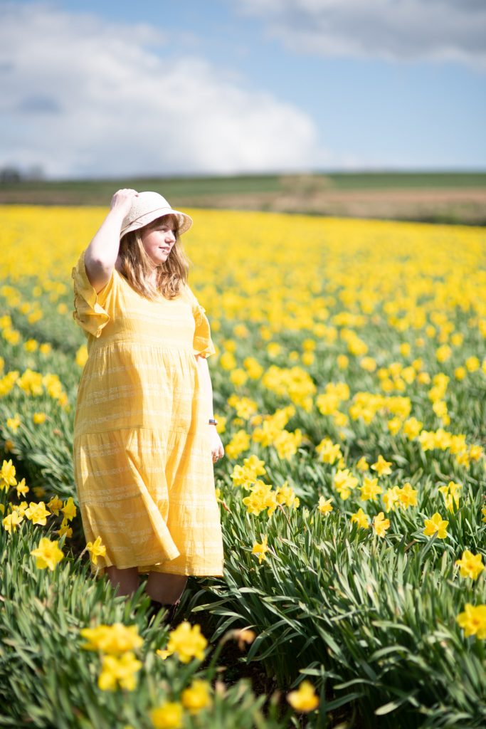 M&S yellow dress worn by Helen Hobden, lifestyle blogger
