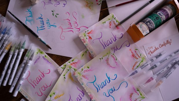 handmade thank you cards with zig brush pens