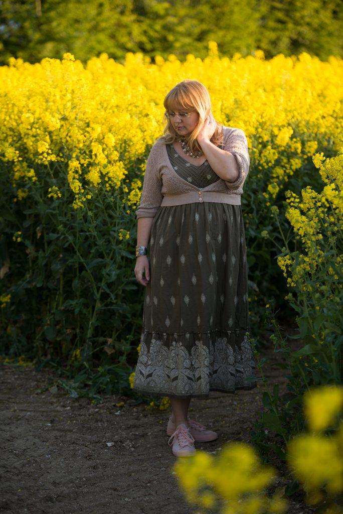 40 plus British fashion blogger wearing a bohemian dress