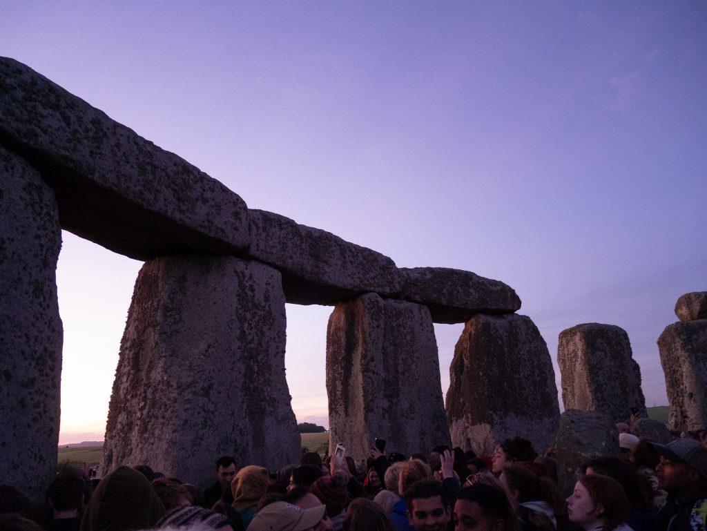 near sunrise at stonehenge for summer solstice