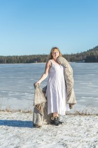 white dress worn in winter