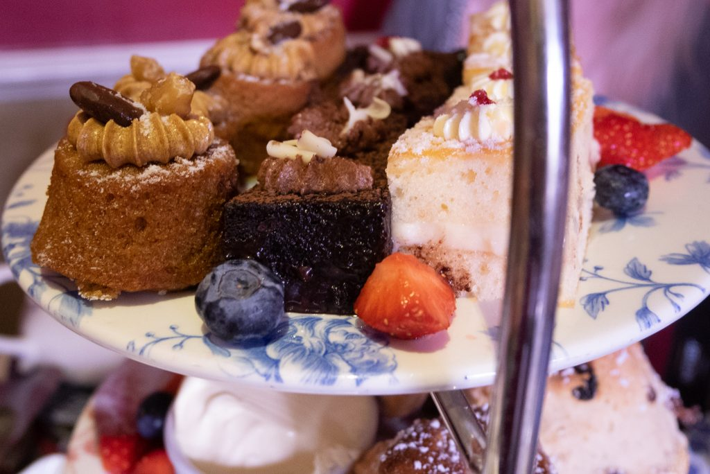Cakes at afternoon tea in Bath, Somerset