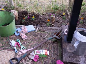 Gardening to make an outside seating area