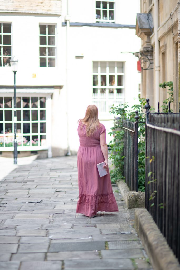 Wearing a Jane Austen dress in Bath