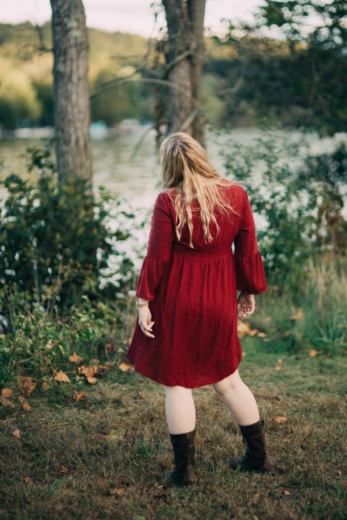 Styling a red dress for autumn