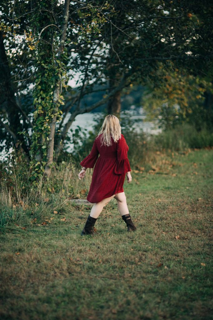 A russet red dress for fall