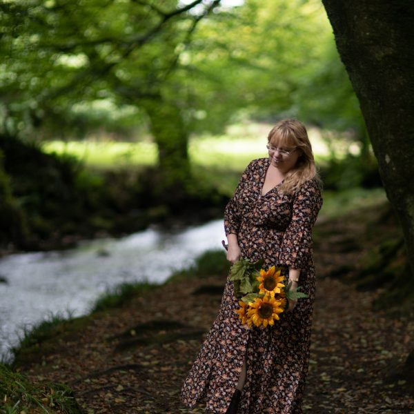 a vintage style floral dress