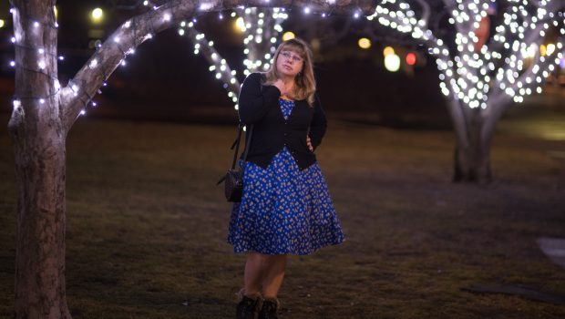 Styling a fifties dress in winter