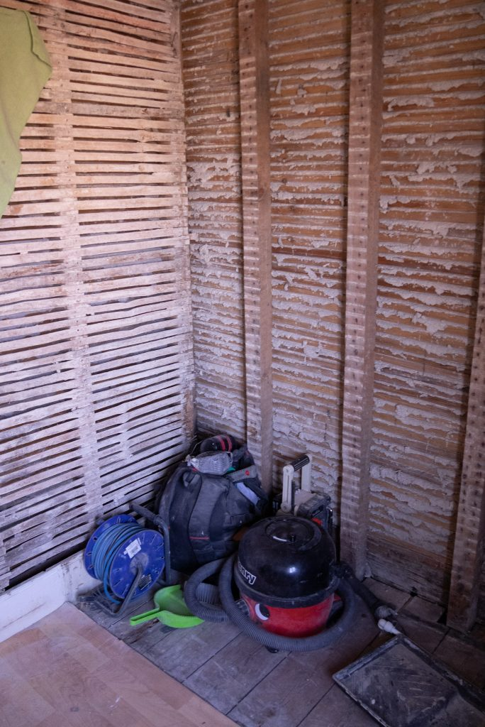 Old lath and plaster walls found in bathroom renovation