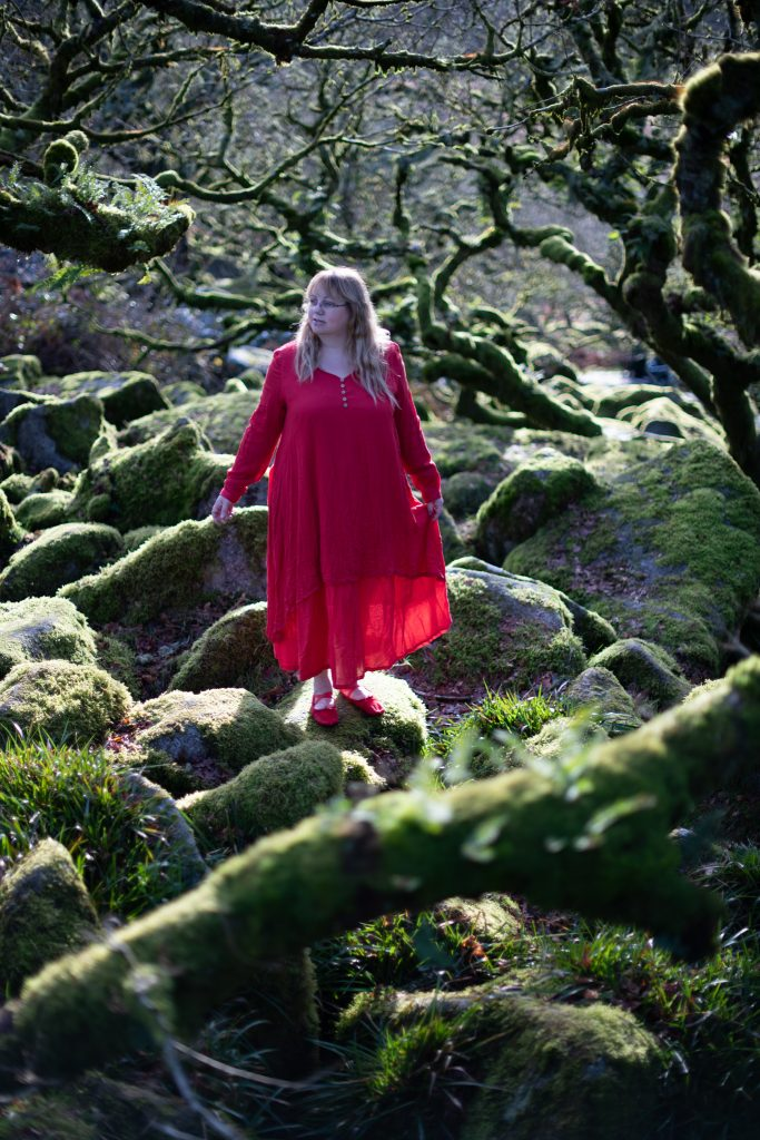 A red long-sleeved hippy dress