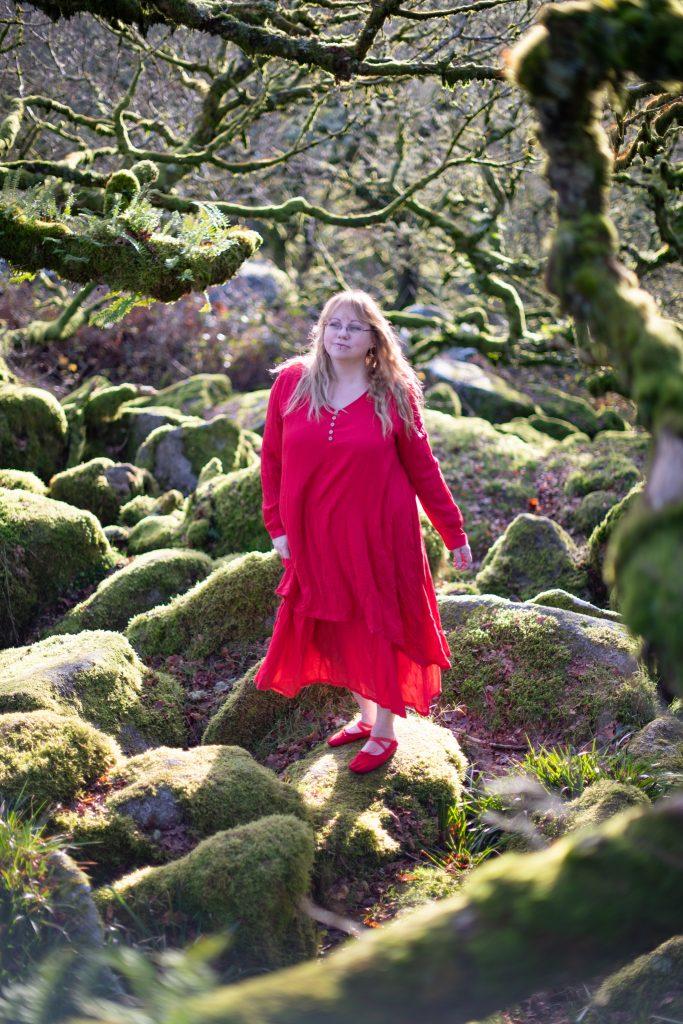 Red floaty hippie dress