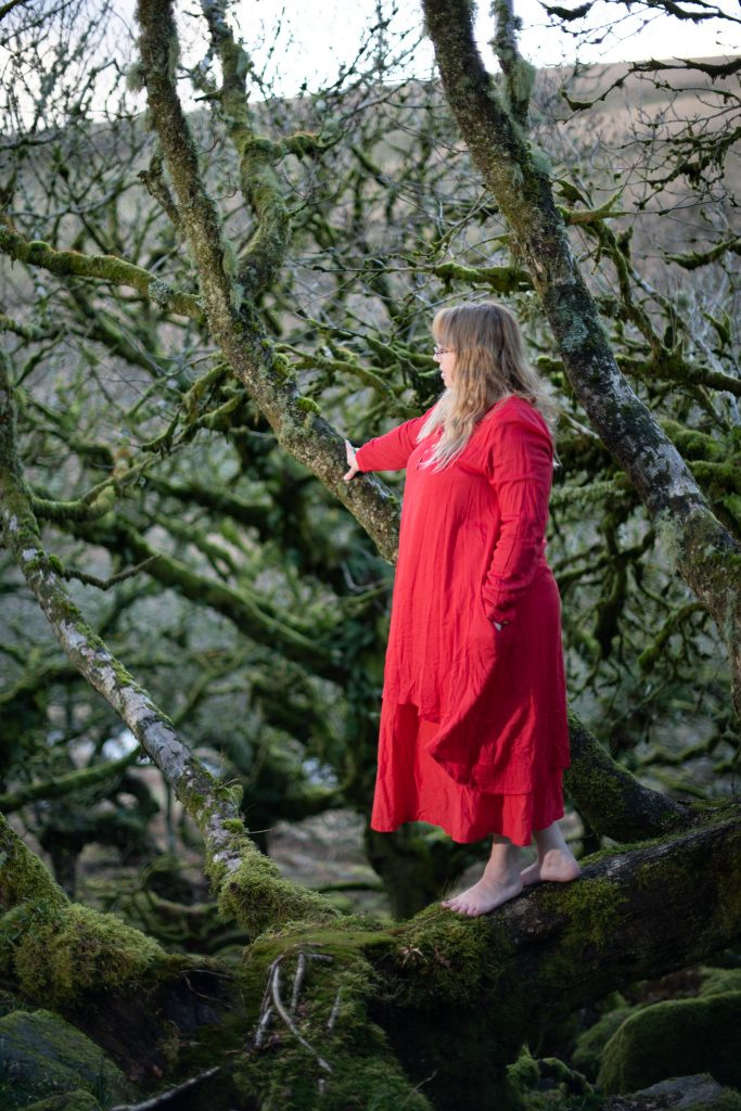 A red pagan dress at Wistman's Wood