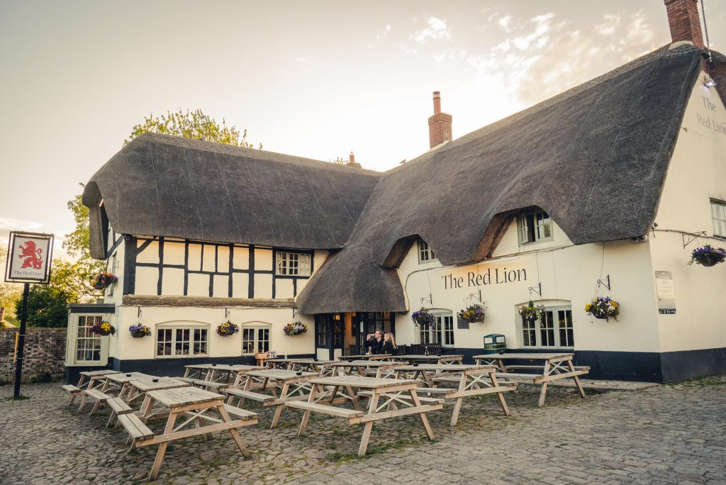 Eating at the Red Lion in Avebury