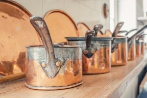 copper saucepans at Saltram