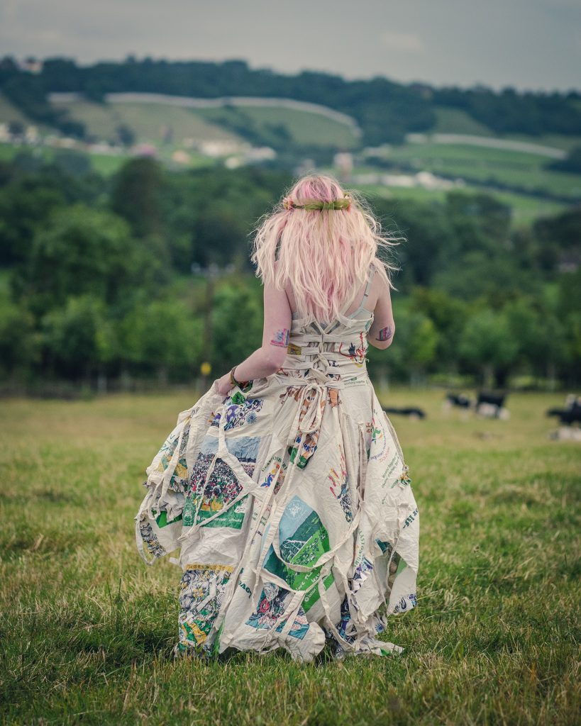 Festival dress made out of Glastonbury bags