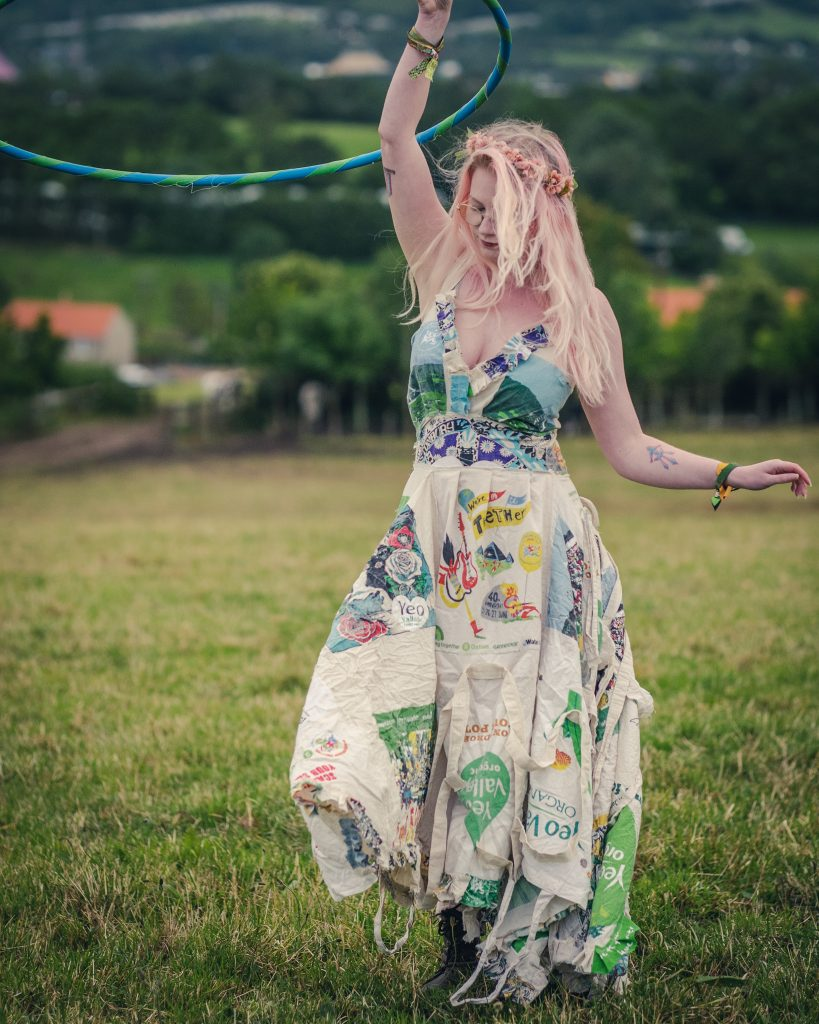 Sustainable Glastonbury festival bag dress