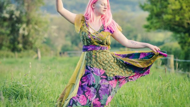 a green and purple boho fairy dress
