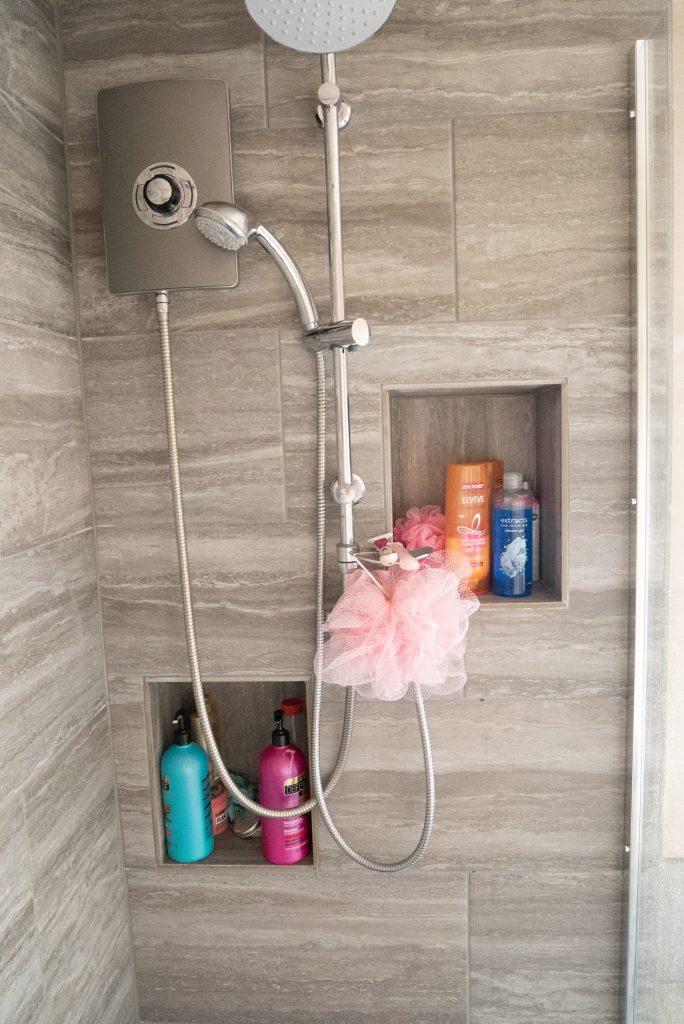 Buying a Wickes bathroom, grey tiles & walk in shower