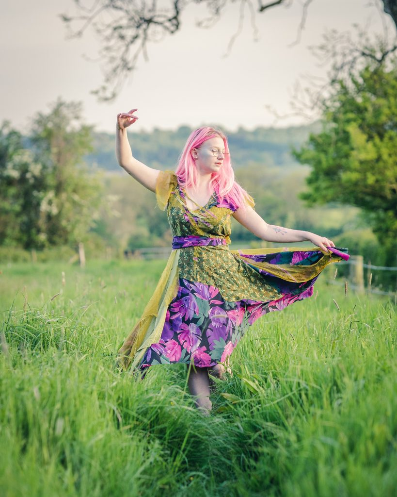 Green and purple boho dress