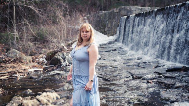 a blue summer maxi dress