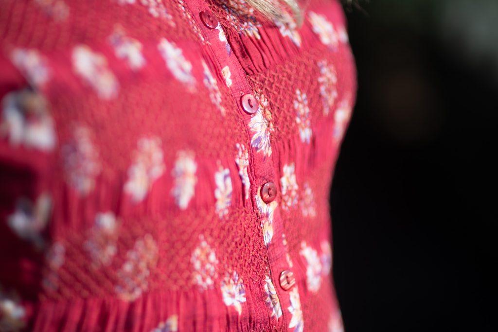 Vintage dress floral pattern detail