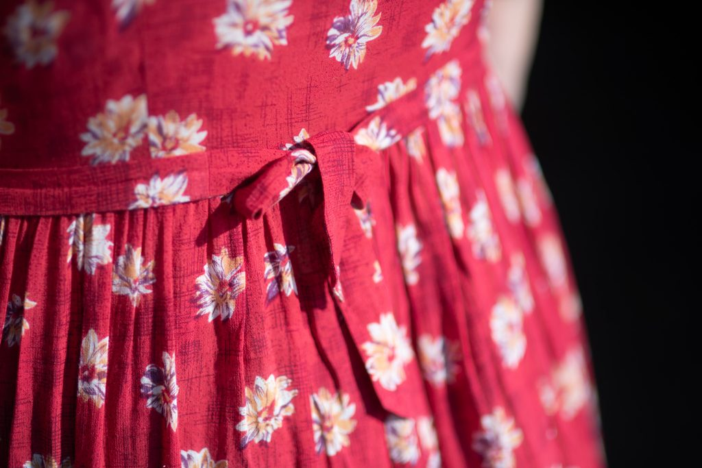 Back tie detail of a vintage summer dress