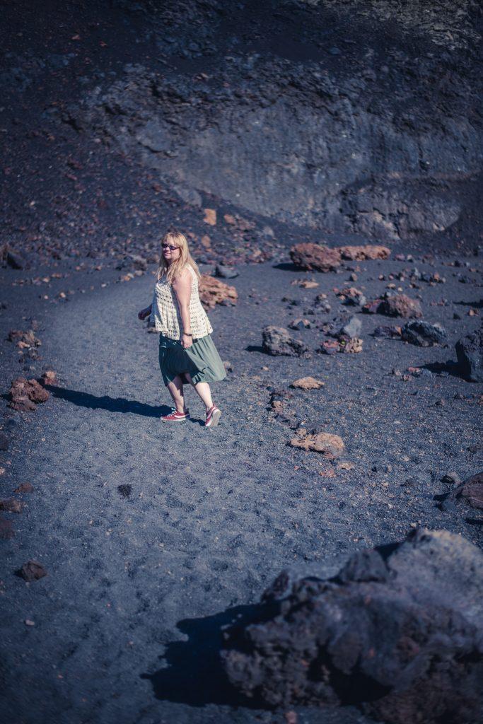 Exploring a Lanzarote volcano crater