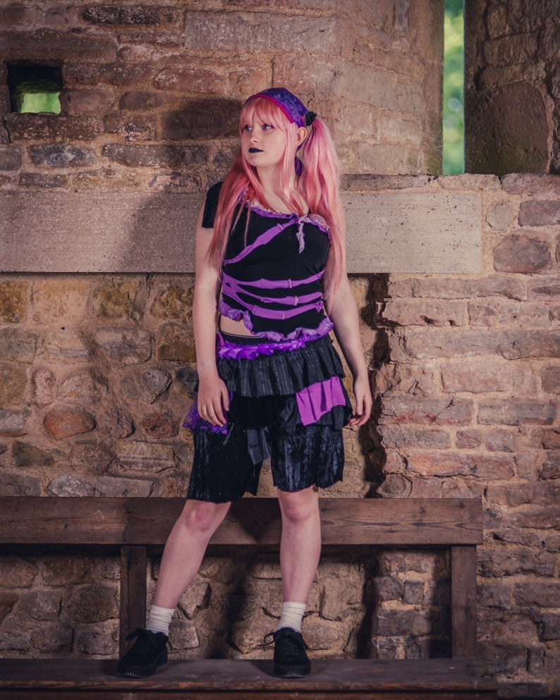purple and black pastel goth outfit